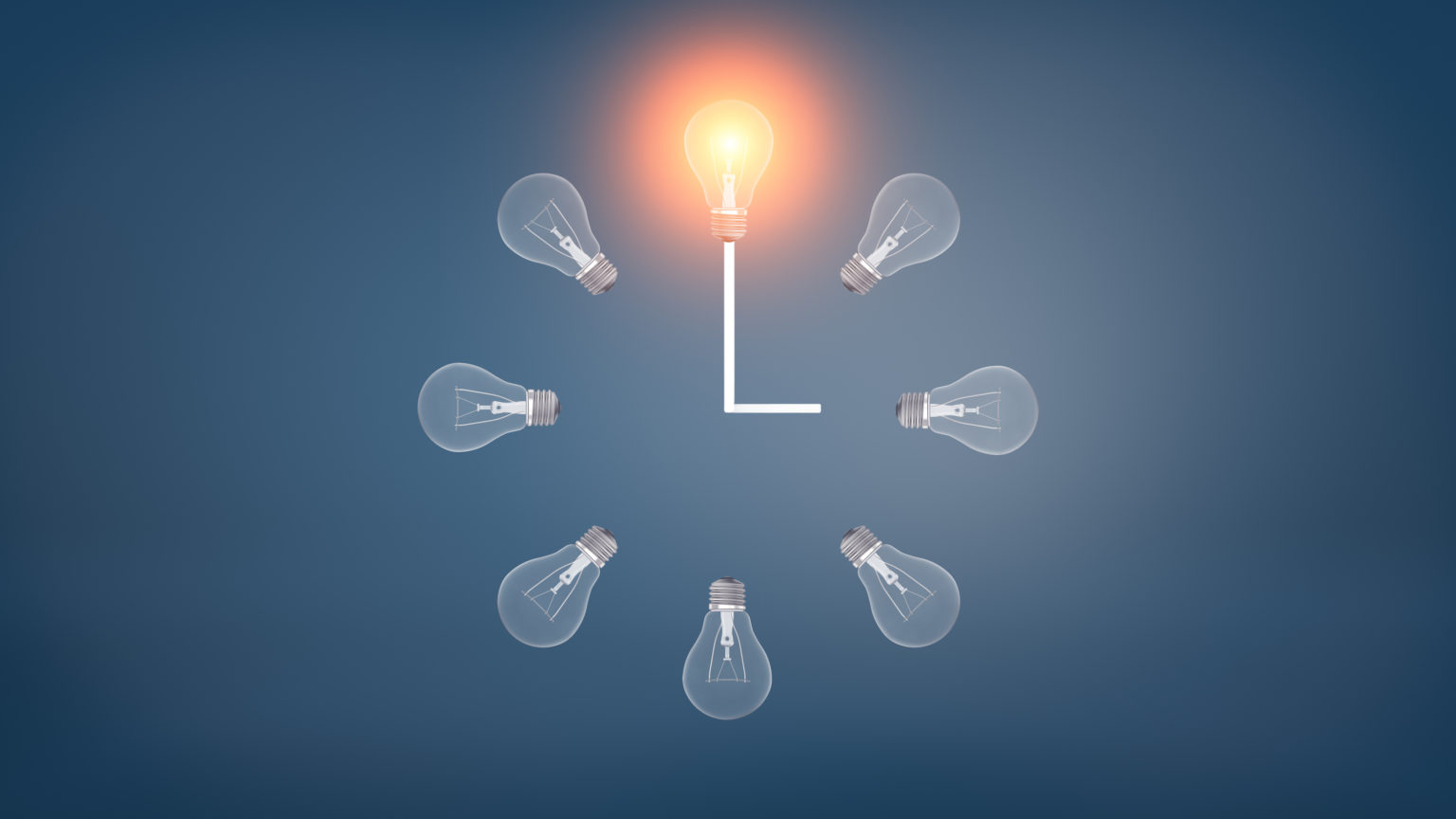 3d rendering of a several incandescent light bulbs arranged in the clock shape with one glowing bulb on the top.