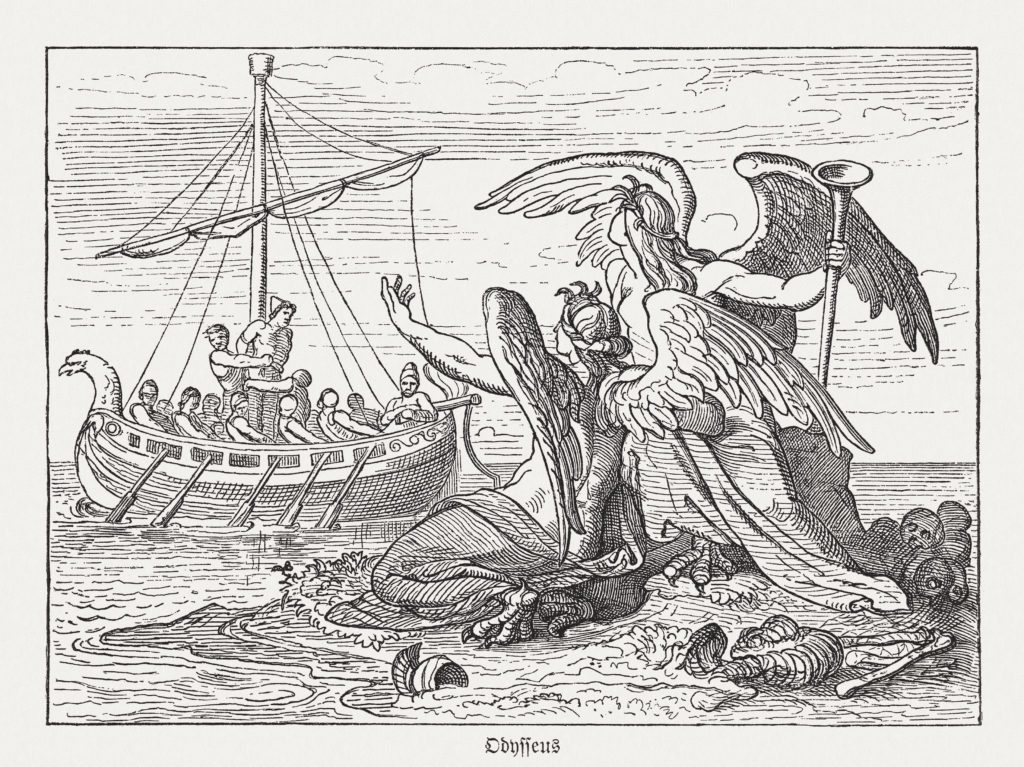 Ulysses and Sirens, Greek mythology, wood engraving, published in 1880