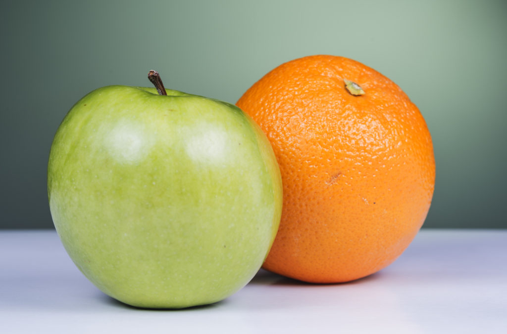 Apple and oranges comparison