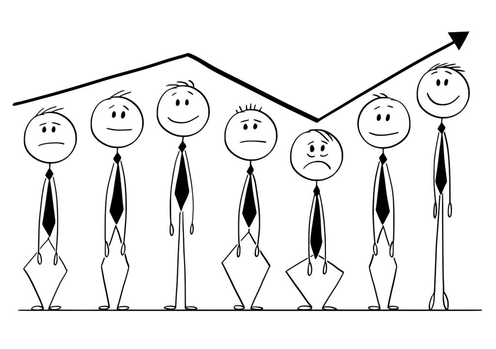 Cartoon of Group of Businessmen Rising Up and Down With Arrow of Graph